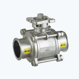 Sanitary pneumatic full pore encapsulated 3PCS ball valves