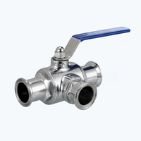 Sanitary triclover 3 way ball valves
