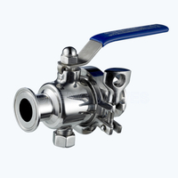 Sanitary side-clamp non-retention ball valves