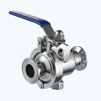 Sanitary triclover side-clamp non-retention ball valves