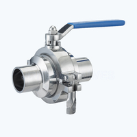 Sanitary non-retention ball valves
